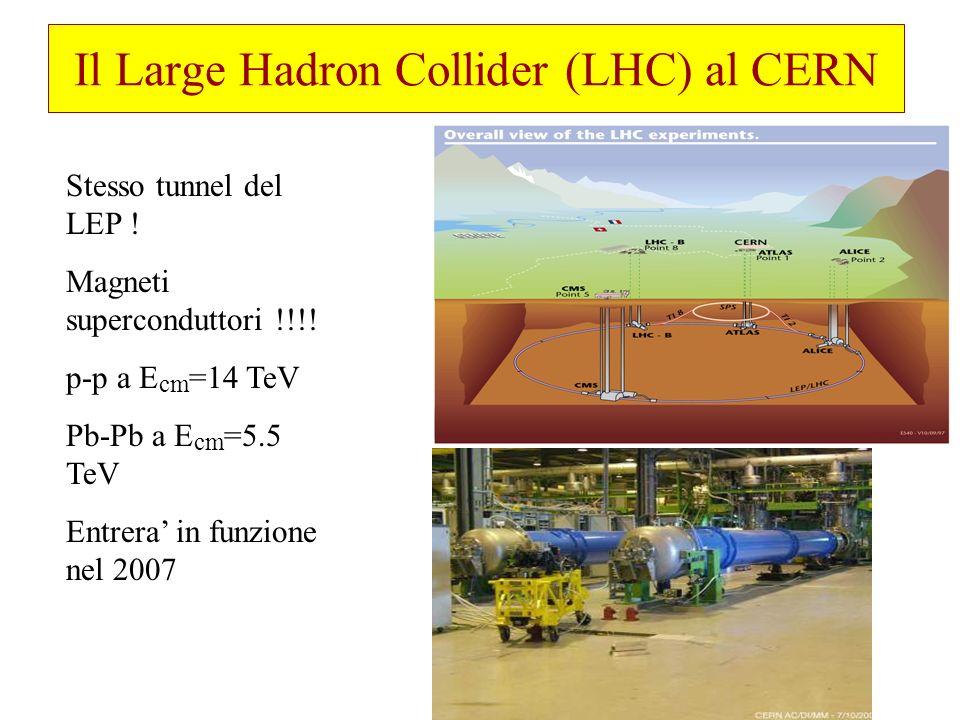 Il Large Hadron Collider (LHC) al CERN Stesso tunnel del LEP ! Magneti superconduttori !!!! p-p a E cm =14 TeV Pb-Pb a E cm =5.5 TeV Entrera in funzio