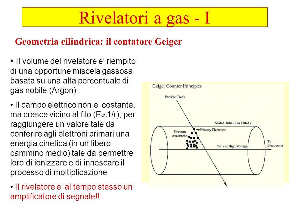 Rivelatori a gas - I Geometria cilindrica: il contatore Geiger Il volume del rivelatore e riempito di una opportune miscela gassosa basata su una alta