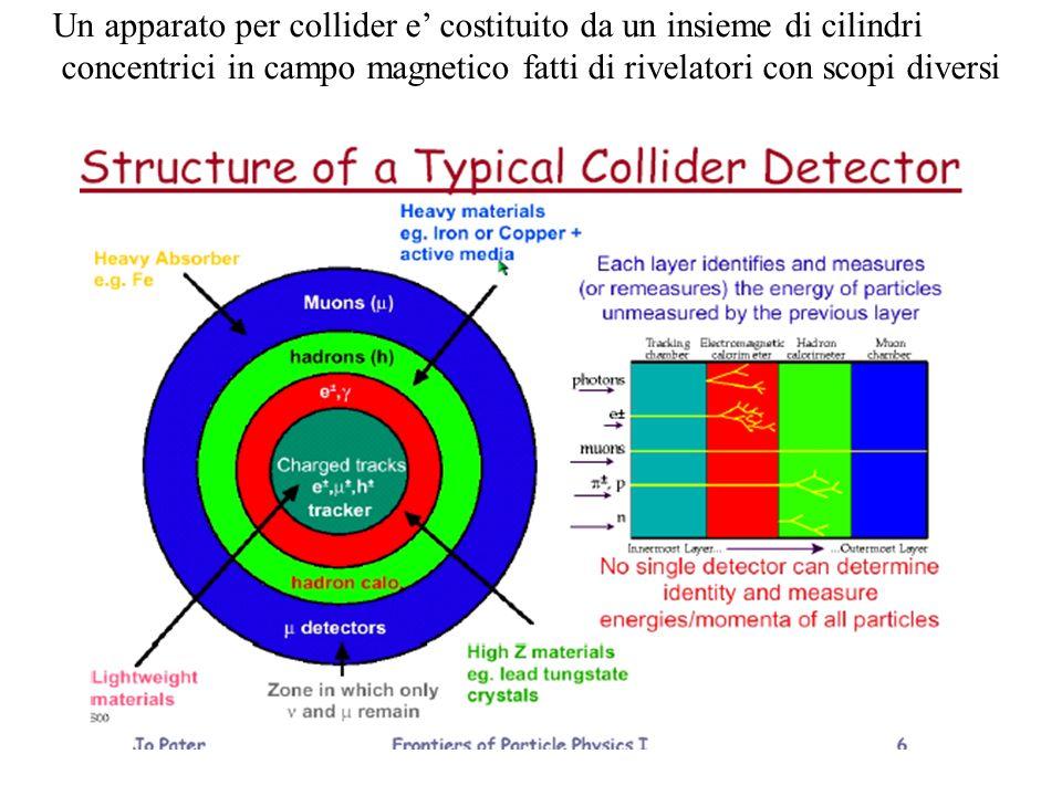 Un apparato per collider e costituito da un insieme di cilindri concentrici in campo magnetico fatti di rivelatori con scopi diversi