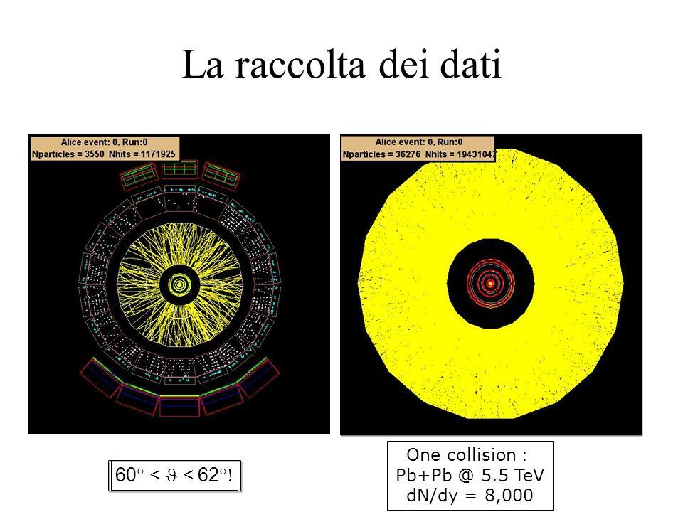 60 < < 62 One collision : Pb+Pb @ 5.5 TeV dN/dy = 8,000 La raccolta dei dati