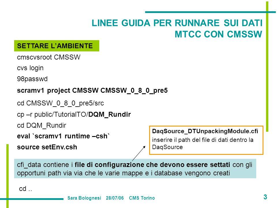 cmscvsroot CMSSW cvs login 98passwd scramv1 project CMSSW CMSSW_0_8_0_pre5 cp –r public/TutorialTO/DQM_Rundir cd CMSSW_0_8_0_pre5/src cd DQM_Rundir eval `scramv1 runtime –csh` source setEnv.csh SETTARE LAMBIENTE cd..