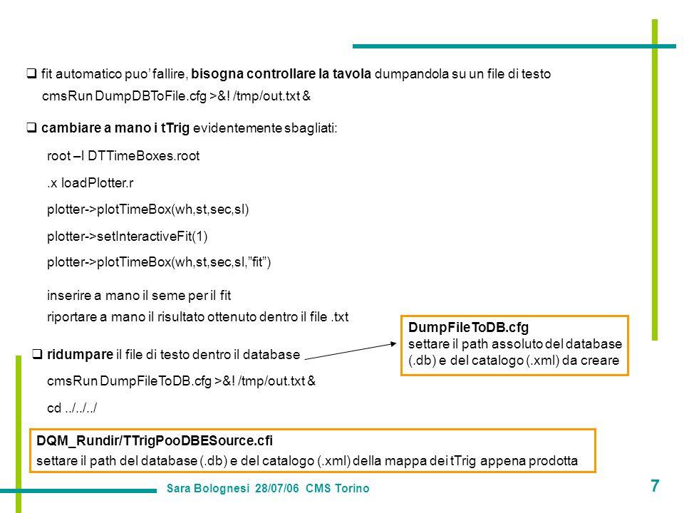 fit automatico puo fallire, bisogna controllare la tavola dumpandola su un file di testo cmsRun DumpDBToFile.cfg >&.
