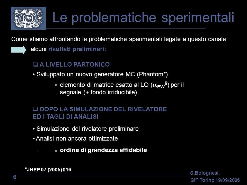 Le problematiche sperimentali S.Bolognesi, SIF Torino 19/09/2006 6 Come stiamo affrontando le problematiche sperimentali legate a questo canale Simulazione del rivelatore preliminare A LIVELLO PARTONICO DOPO LA SIMULAZIONE DEL RIVELATORE ED I TAGLI DI ANALISI Analisi non ancora ottimizzate Sviluppato un nuovo generatore MC (Phantom*) elemento di matrice esatto al LO ( EW 6 ) per il segnale (+ fondo irriducibile) ordine di grandezza affidabile alcuni risultati preliminari: * JHEP 07 (2005) 016