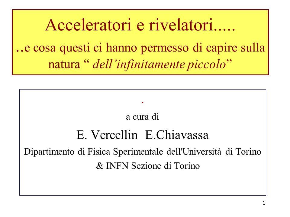 1 Acceleratori e rivelatori....... e cosa questi ci hanno permesso di capire sulla natura dellinfinitamente piccolo. a cura di E. Vercellin E.Chiavass