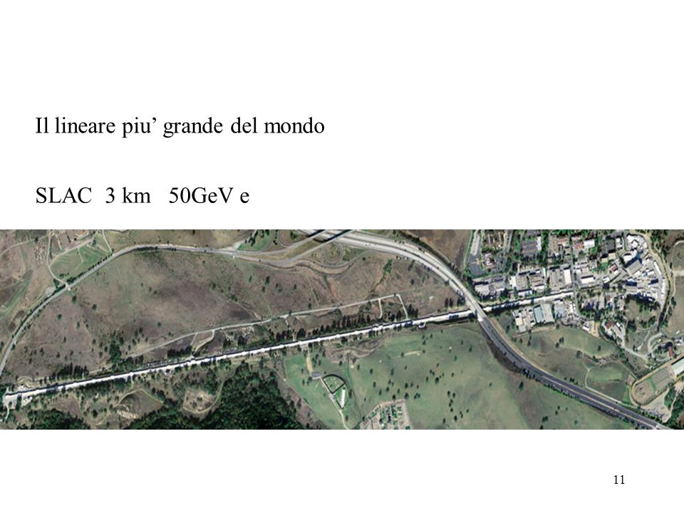 11 SLAC 3 km 50GeV e Il lineare piu grande del mondo
