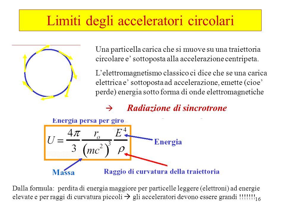 16 Limiti degli acceleratori circolari Una particella carica che si muove su una traiettoria circolare e sottoposta alla accelerazione centripeta. Lel