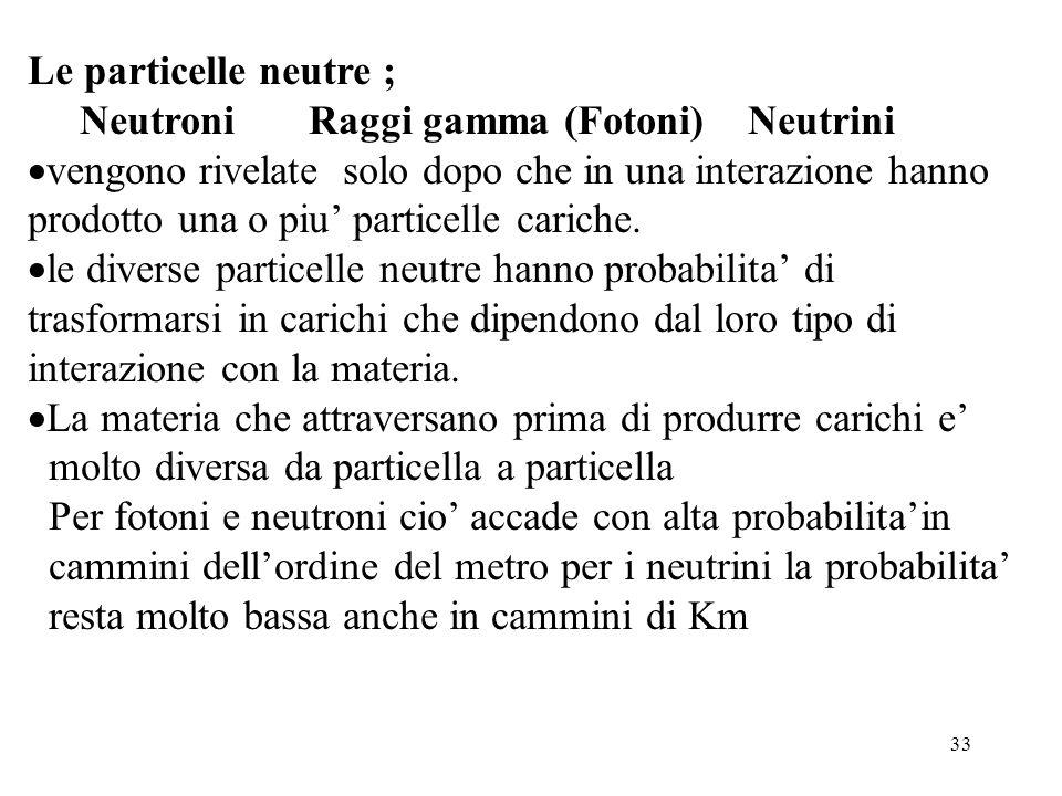 33 Le particelle neutre ; Neutroni Raggi gamma (Fotoni) Neutrini vengono rivelate solo dopo che in una interazione hanno prodotto una o piu particelle