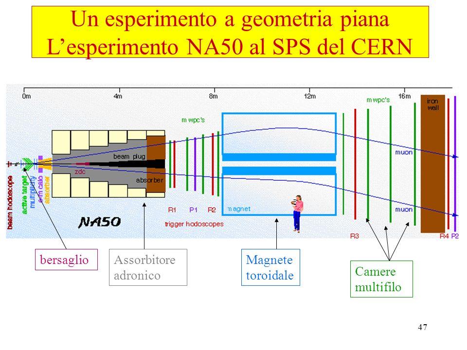 47 Magnete toroidale Camere multifilo Assorbitore adronico bersaglio Un esperimento a geometria piana Lesperimento NA50 al SPS del CERN