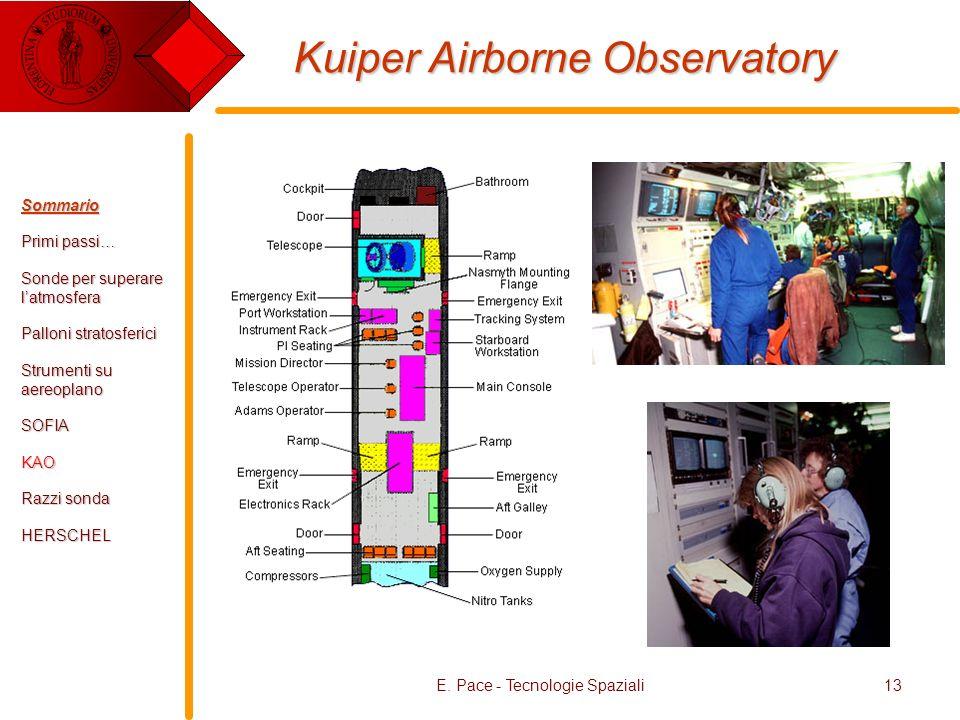 E. Pace - Tecnologie Spaziali13 Kuiper Airborne Observatory Sommario Primi passi… Sonde per superare latmosfera Palloni stratosferici Strumenti su aer