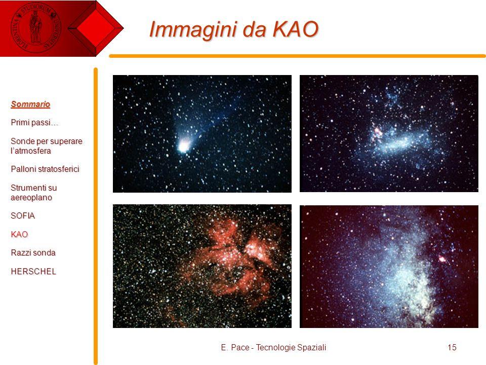 E. Pace - Tecnologie Spaziali15 Immagini da KAO Sommario Primi passi… Sonde per superare latmosfera Palloni stratosferici Strumenti su aereoplano SOFI