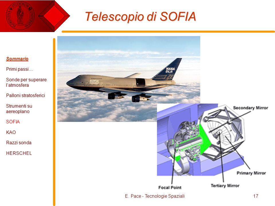 E. Pace - Tecnologie Spaziali17 Telescopio di SOFIA Sommario Primi passi… Sonde per superare latmosfera Palloni stratosferici Strumenti su aereoplano