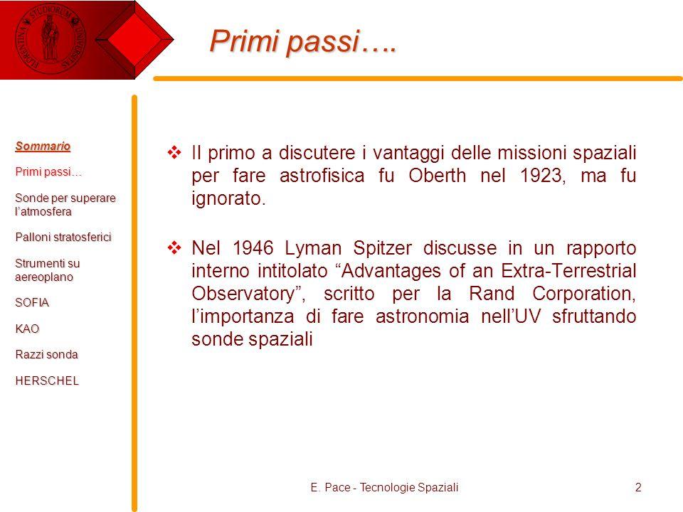 E. Pace - Tecnologie Spaziali2 Primi passi…. Il primo a discutere i vantaggi delle missioni spaziali per fare astrofisica fu Oberth nel 1923, ma fu ig