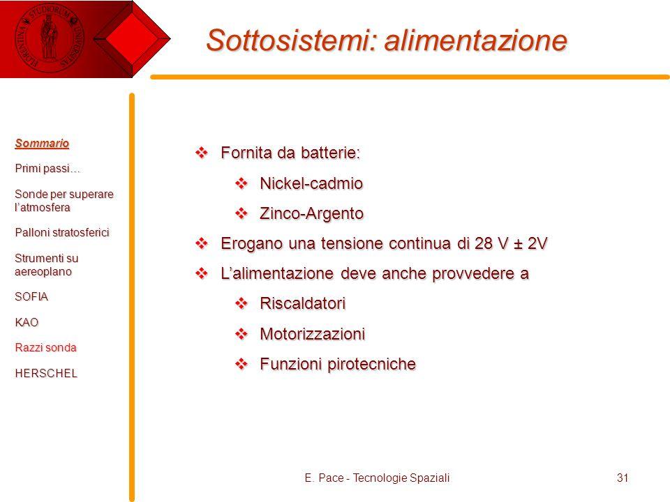 E. Pace - Tecnologie Spaziali31 Sottosistemi: alimentazione Fornita da batterie: Fornita da batterie: Nickel-cadmio Nickel-cadmio Zinco-Argento Zinco-