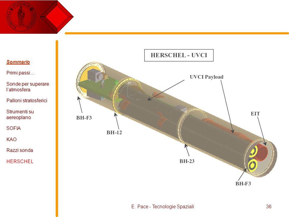 E. Pace - Tecnologie Spaziali36 Sommario Primi passi… Sonde per superare latmosfera Palloni stratosferici Strumenti su aereoplano SOFIAKAO Razzi sonda