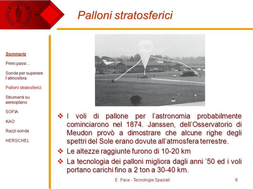 E. Pace - Tecnologie Spaziali6 Palloni stratosferici I voli di pallone per lastronomia probabilmente cominciarono nel 1874. Janssen, dellOsservatorio