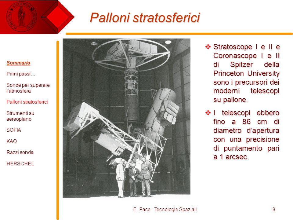 E. Pace - Tecnologie Spaziali8 Palloni stratosferici Stratoscope I e II e Coronascope I e II di Spitzer della Princeton University sono i precursori d