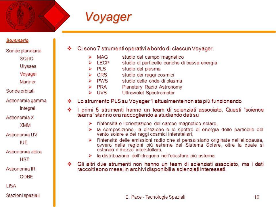 E. Pace - Tecnologie Spaziali10 Voyager Ci sono 7 strumenti operativi a bordo di ciascun Voyager: Ci sono 7 strumenti operativi a bordo di ciascun Voy
