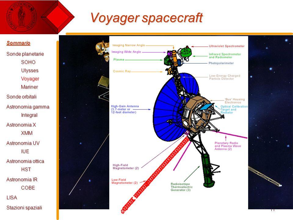 E. Pace - Tecnologie Spaziali11 Voyager spacecraft Sommario Sonde planetarie SOHOUlyssesVoyagerMariner Sonde orbitali Astronomia gamma Integral Astron