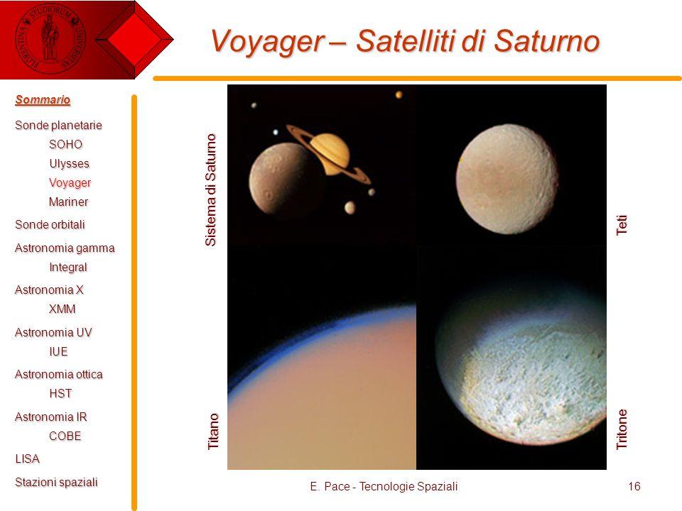 E. Pace - Tecnologie Spaziali16 Voyager – Satelliti di Saturno Tritone Teti Titano Sistema di Saturno Sommario Sonde planetarie SOHOUlyssesVoyagerMari