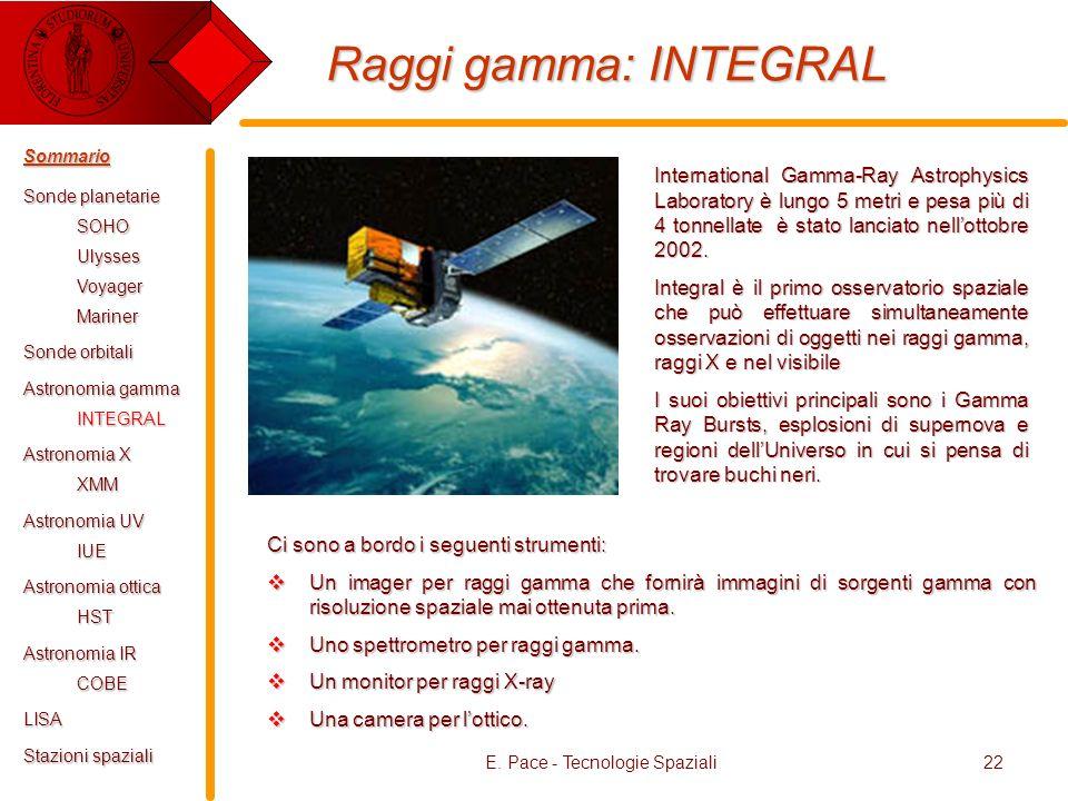 E. Pace - Tecnologie Spaziali22 Raggi gamma: INTEGRAL International Gamma-Ray Astrophysics Laboratory è lungo 5 metri e pesa più di 4 tonnellate è sta