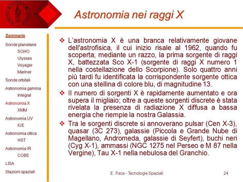 E. Pace - Tecnologie Spaziali24 Astronomia nei raggi X Lastronomia X è una branca relativamente giovane dell'astrofisica, il cui inizio risale al 1962