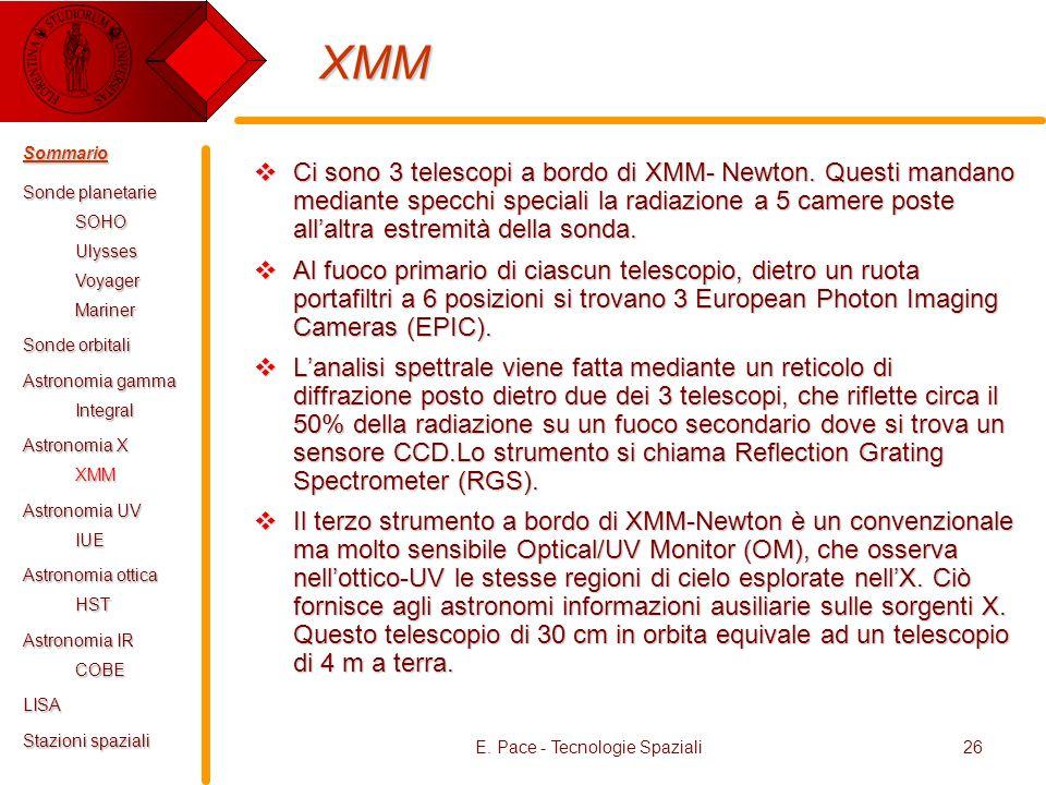 E. Pace - Tecnologie Spaziali26 XMM Ci sono 3 telescopi a bordo di XMM- Newton. Questi mandano mediante specchi speciali la radiazione a 5 camere post