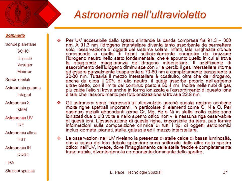 E. Pace - Tecnologie Spaziali27 Astronomia nellultravioletto Per UV accessibile dallo spazio sintende la banda compresa fra 91.3 – 300 nm. A 91.3 nm l