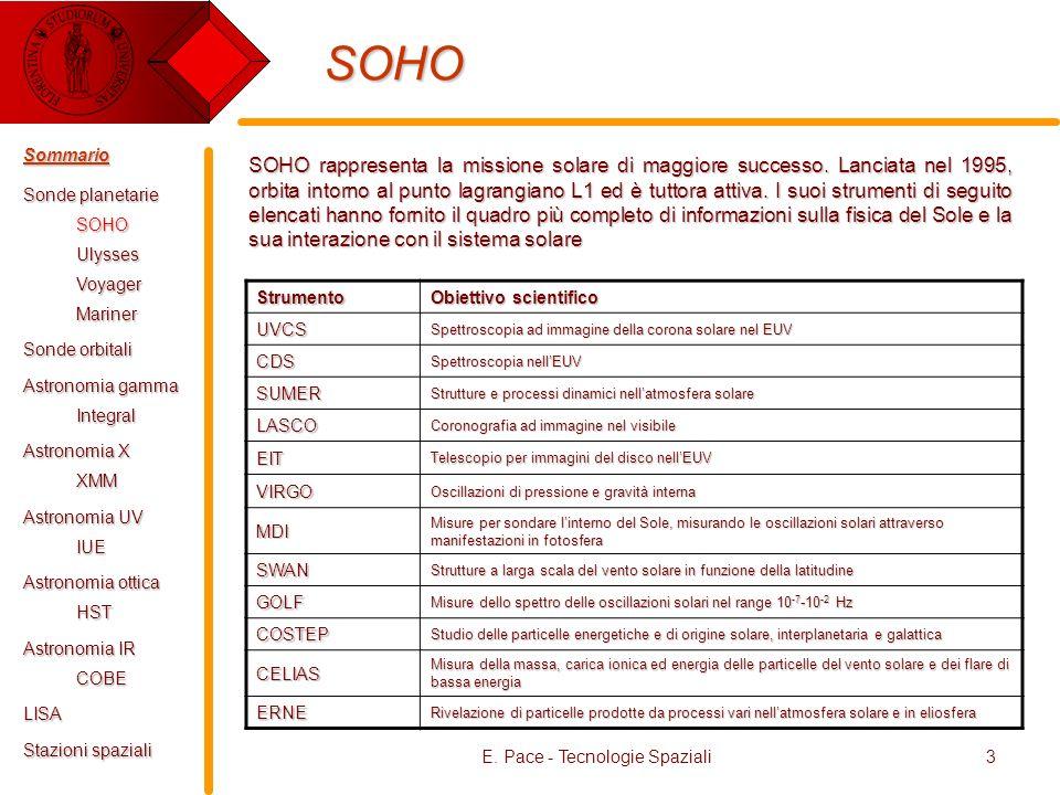 E. Pace - Tecnologie Spaziali3 SOHO SOHO rappresenta la missione solare di maggiore successo. Lanciata nel 1995, orbita intorno al punto lagrangiano L