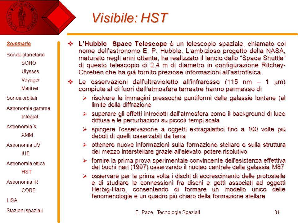 E. Pace - Tecnologie Spaziali31 Visibile: HST LHubble Space Telescope è un telescopio spaziale, chiamato col nome dell'astronomo E. P. Hubble. L'ambiz