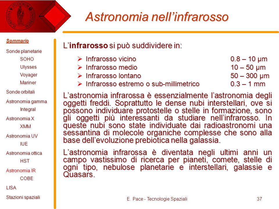 E. Pace - Tecnologie Spaziali37 Astronomia nellinfrarosso Linfrarosso si può suddividere in: Infrarosso vicino 0.8 – 10 µm Infrarosso vicino 0.8 – 10