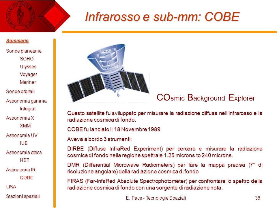 E. Pace - Tecnologie Spaziali38 Infrarosso e sub-mm: COBE CO smic B ackground E xplorer Questo satellite fu sviluppato per misurare la radiazione diff