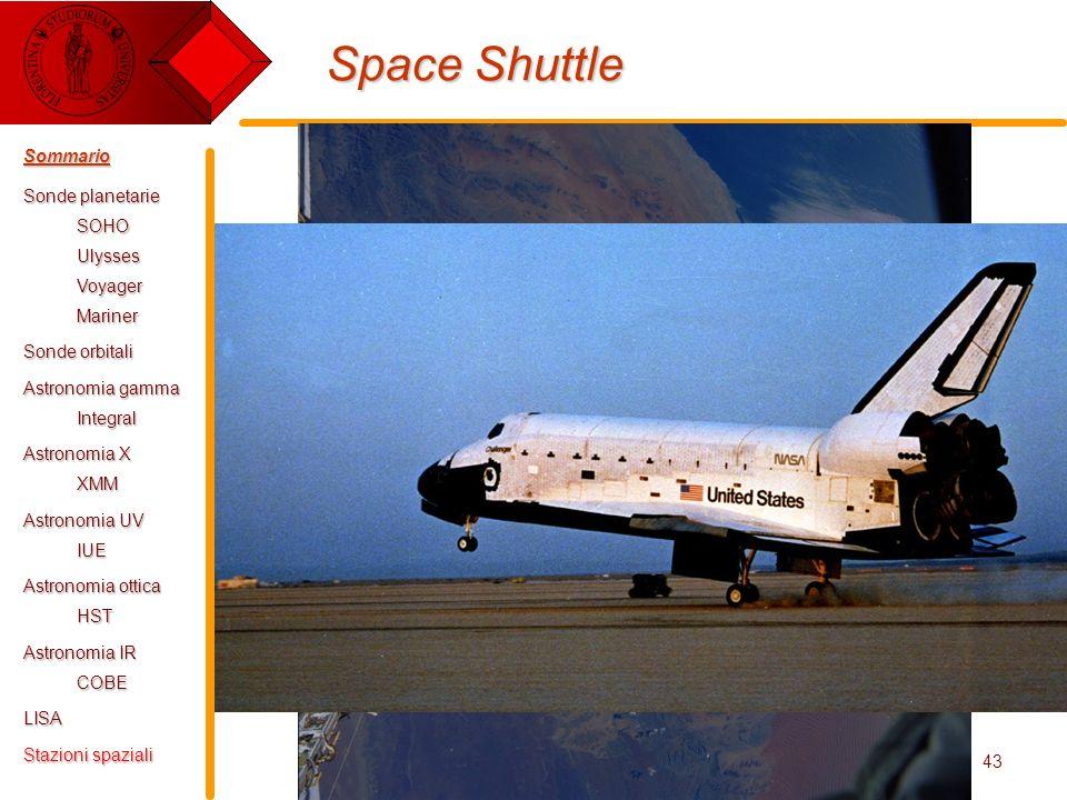 E. Pace - Tecnologie Spaziali43 Space Shuttle Sommario Sonde planetarie SOHOUlyssesVoyagerMariner Sonde orbitali Astronomia gamma Integral Astronomia