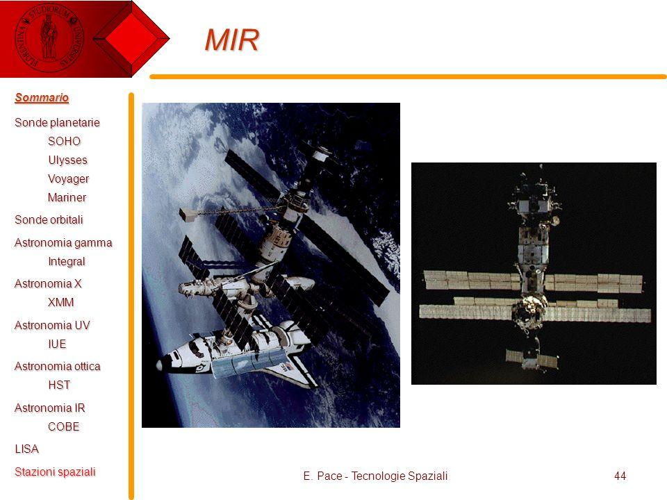E. Pace - Tecnologie Spaziali44 MIR Sommario Sonde planetarie SOHOUlyssesVoyagerMariner Sonde orbitali Astronomia gamma Integral Astronomia X XMM Astr
