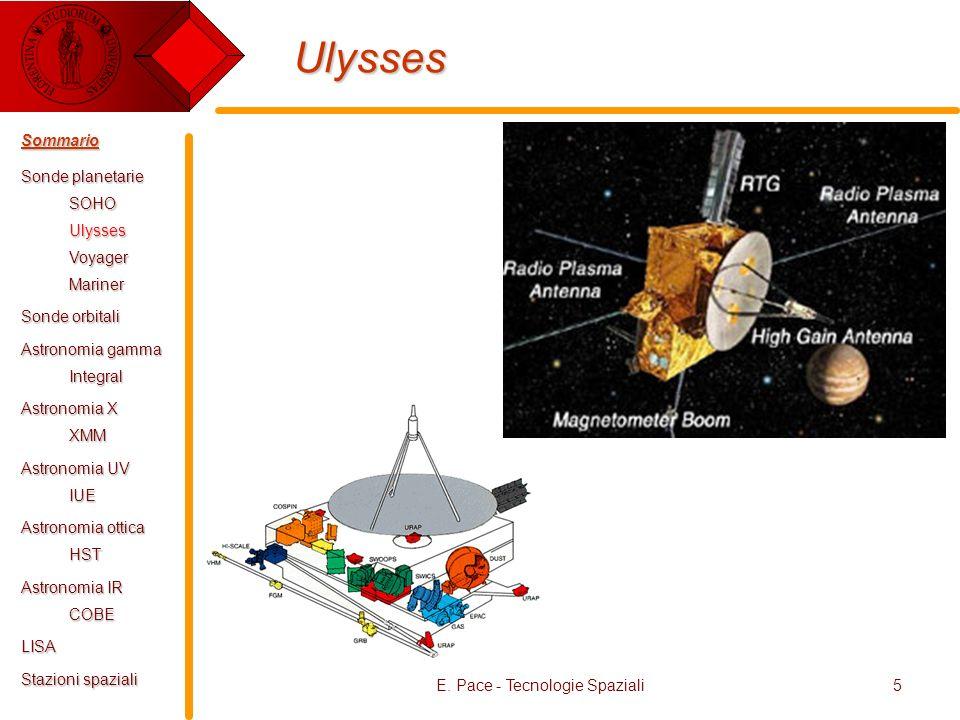 E. Pace - Tecnologie Spaziali5 Ulysses Sommario Sonde planetarie SOHOUlyssesVoyagerMariner Sonde orbitali Astronomia gamma Integral Astronomia X XMM A