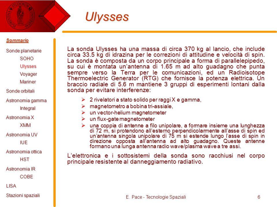 E. Pace - Tecnologie Spaziali6 Ulysses La sonda Ulysses ha una massa di circa 370 kg al lancio, che include circa 33.5 kg di idrazina per le correzion