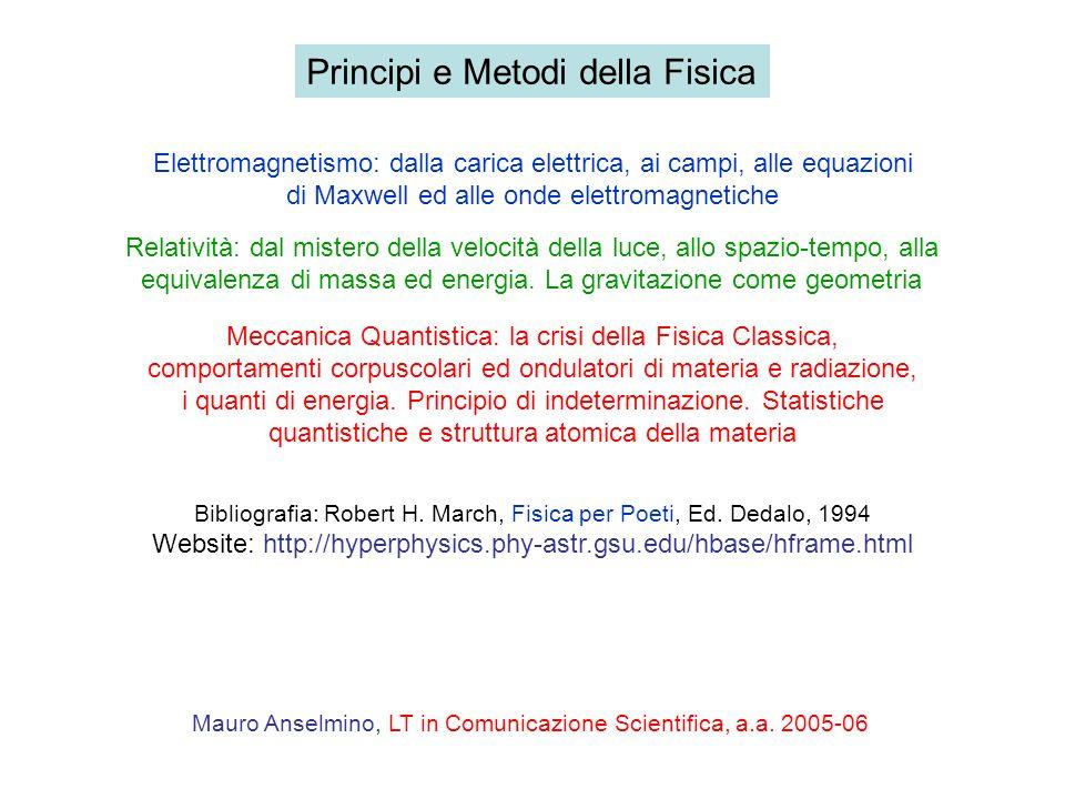 Principi e Metodi della Fisica Relatività: dal mistero della velocità della luce, allo spazio-tempo, alla equivalenza di massa ed energia. La gravitaz