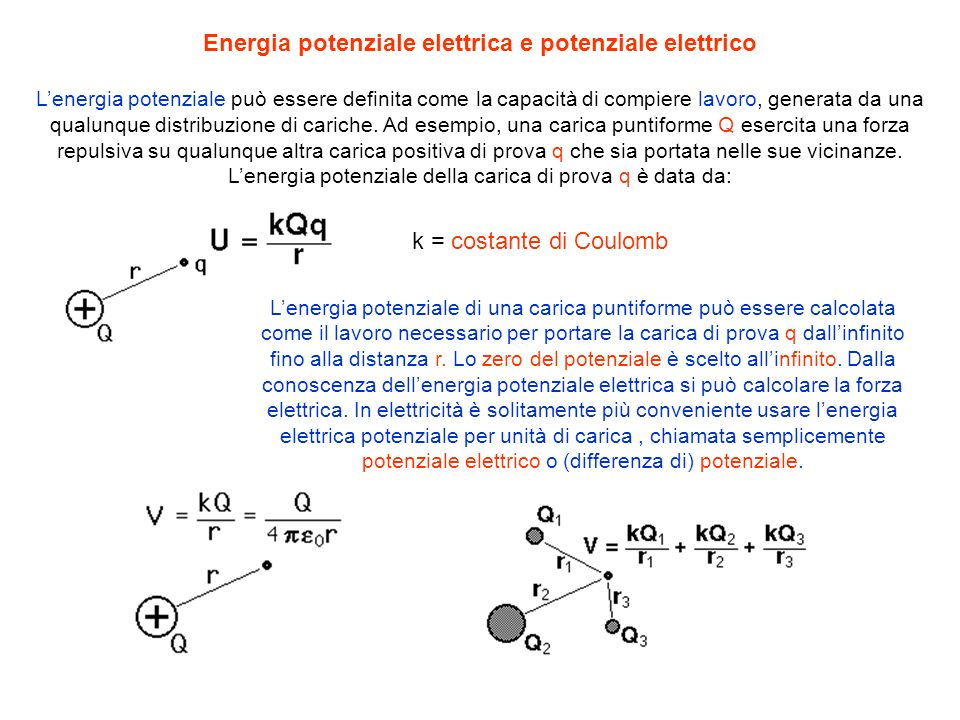 Energia potenziale elettrica e potenziale elettrico Lenergia potenziale può essere definita come la capacità di compiere lavoro, generata da una qualu