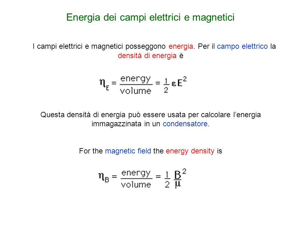 I campi elettrici e magnetici posseggono energia. Per il campo elettrico la densità di energia è Questa densità di energia può essere usata per calcol