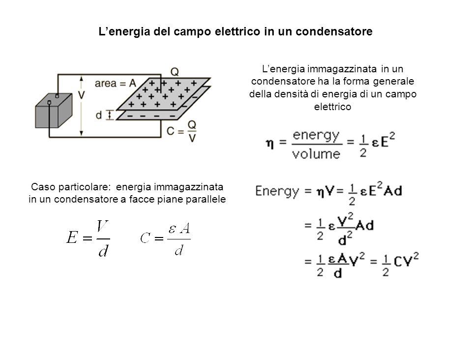 Lenergia del campo elettrico in un condensatore Lenergia immagazzinata in un condensatore ha la forma generale della densità di energia di un campo el