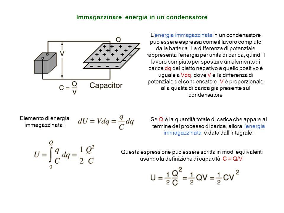 Immagazzinare energia in un condensatore Elemento di energia immagazzinata : Se Q è la quantità totale di carica che appare al termine del processo di