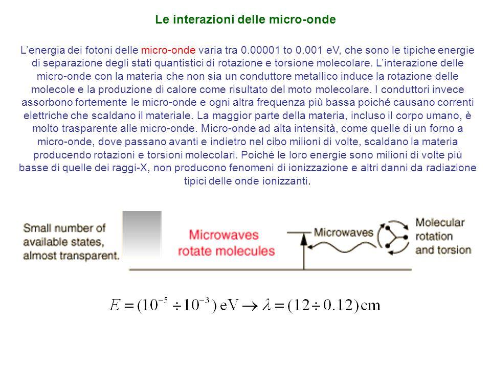 Lenergia dei fotoni delle micro-onde varia tra 0.00001 to 0.001 eV, che sono le tipiche energie di separazione degli stati quantistici di rotazione e