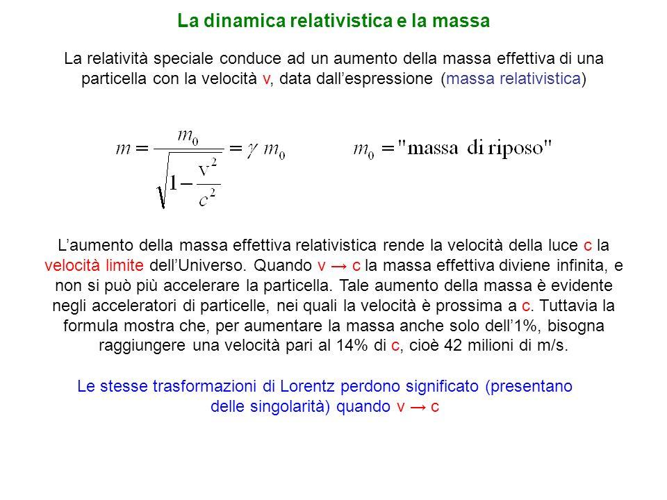 La relatività speciale conduce ad un aumento della massa effettiva di una particella con la velocità v, data dallespressione (massa relativistica) La