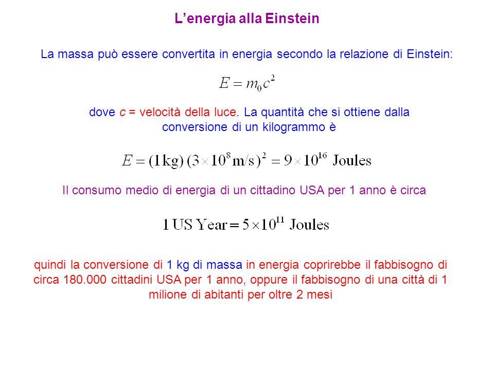 La massa può essere convertita in energia secondo la relazione di Einstein: dove c = velocità della luce. La quantità che si ottiene dalla conversione