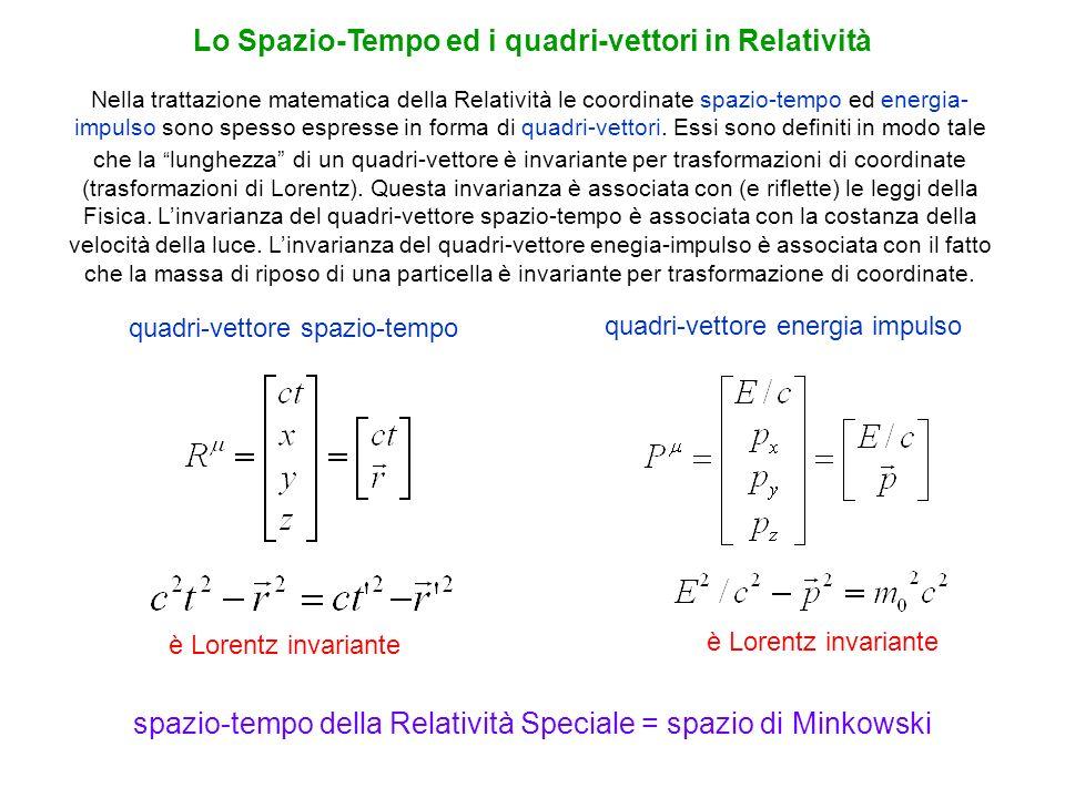 Nella trattazione matematica della Relatività le coordinate spazio-tempo ed energia- impulso sono spesso espresse in forma di quadri-vettori. Essi son