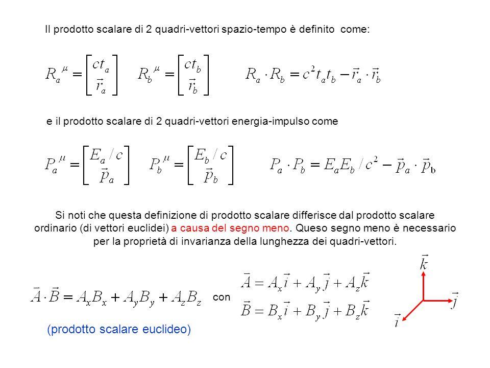 Il prodotto scalare di 2 quadri-vettori spazio-tempo è definito come: e il prodotto scalare di 2 quadri-vettori energia-impulso come Si noti che quest