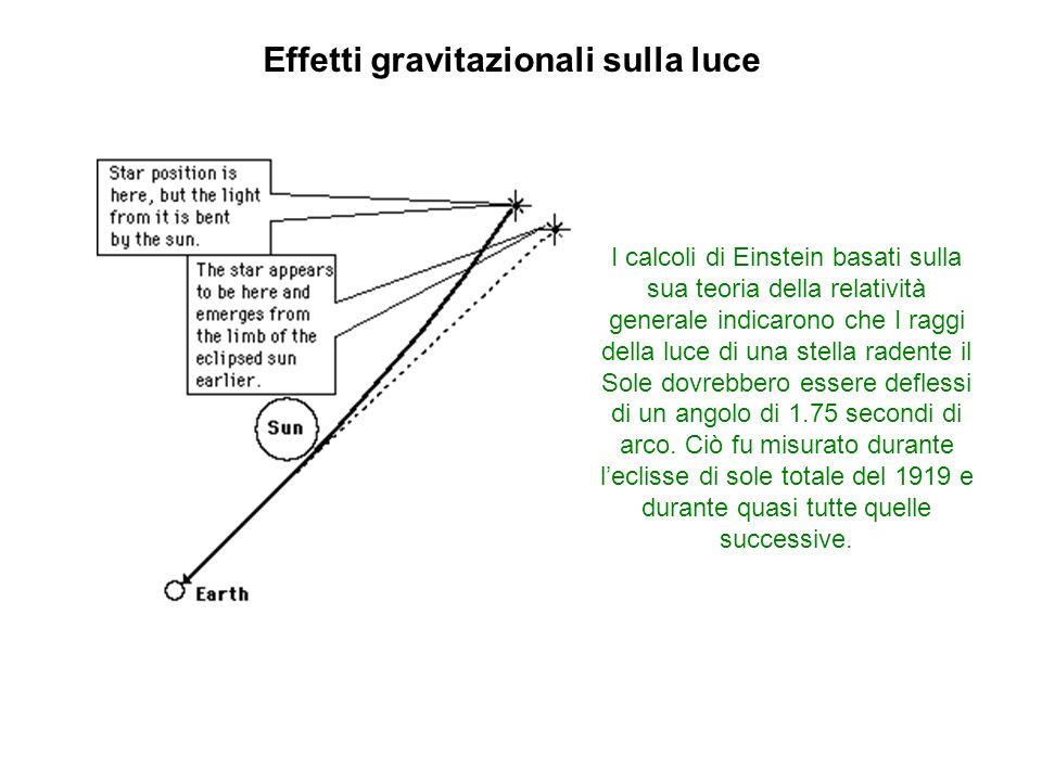 Effetti gravitazionali sulla luce I calcoli di Einstein basati sulla sua teoria della relatività generale indicarono che I raggi della luce di una ste