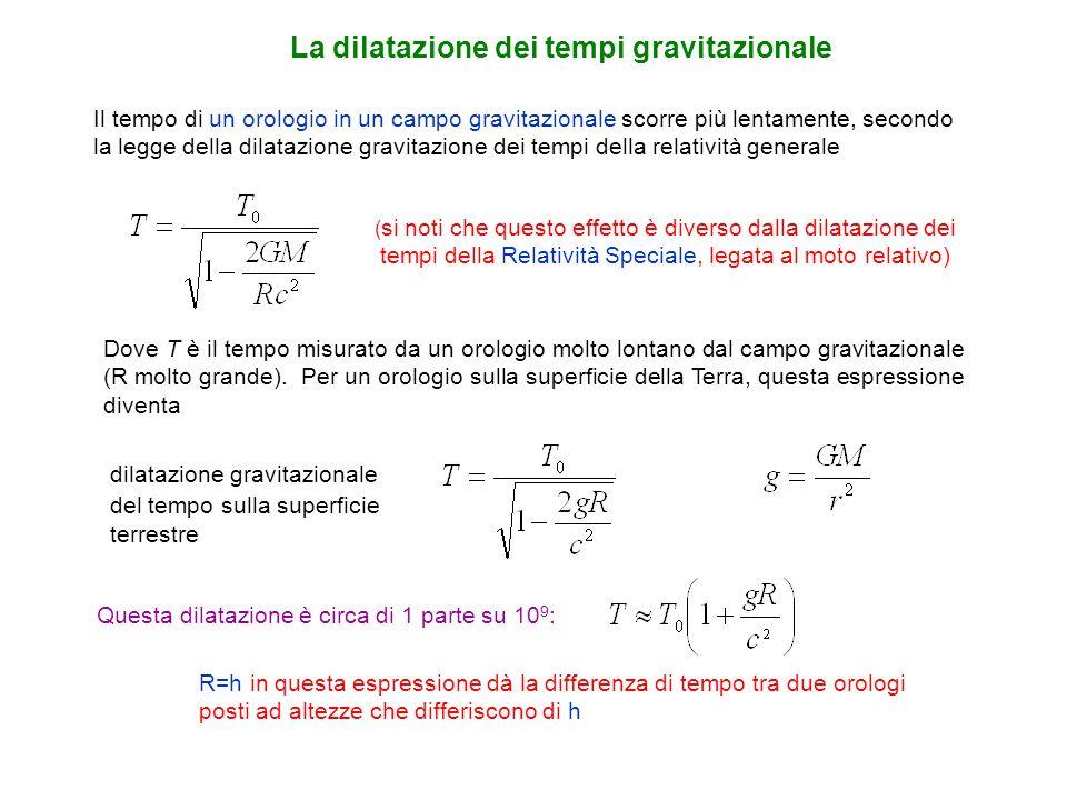Il tempo di un orologio in un campo gravitazionale scorre più lentamente, secondo la legge della dilatazione gravitazione dei tempi della relatività g