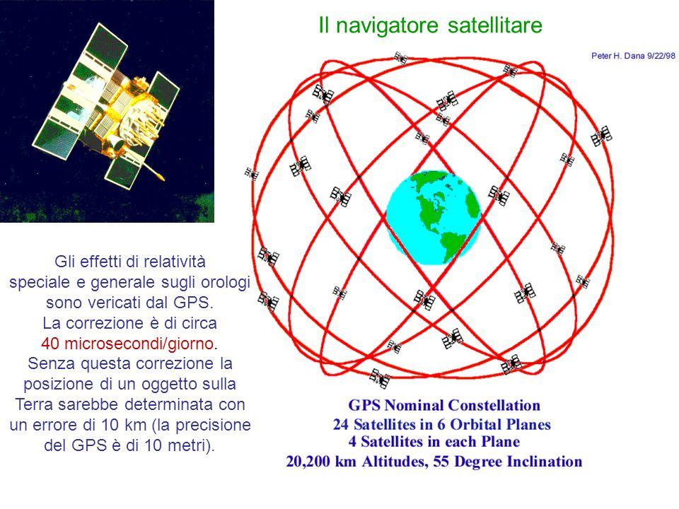 Gli effetti di relatività speciale e generale sugli orologi sono vericati dal GPS. La correzione è di circa 40 microsecondi/giorno. Senza questa corre