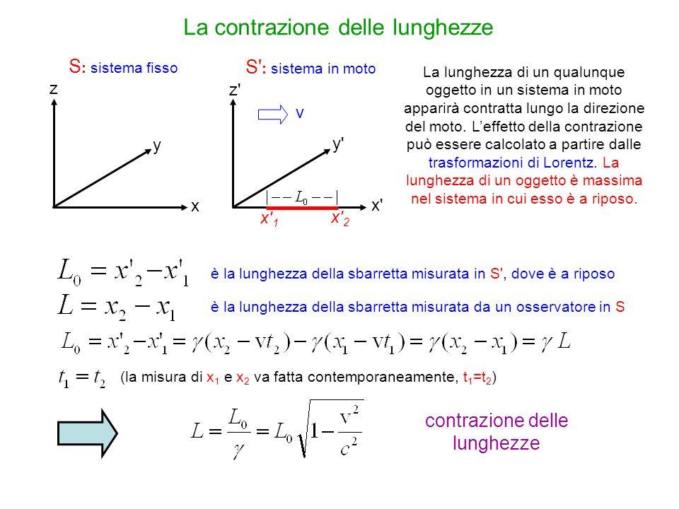 La contrazione delle lunghezze S : sistema fisso S' : sistema in moto x y z y'y' x'x' z'z' x'1x'1 v x'2x'2 La lunghezza di un qualunque oggetto in un