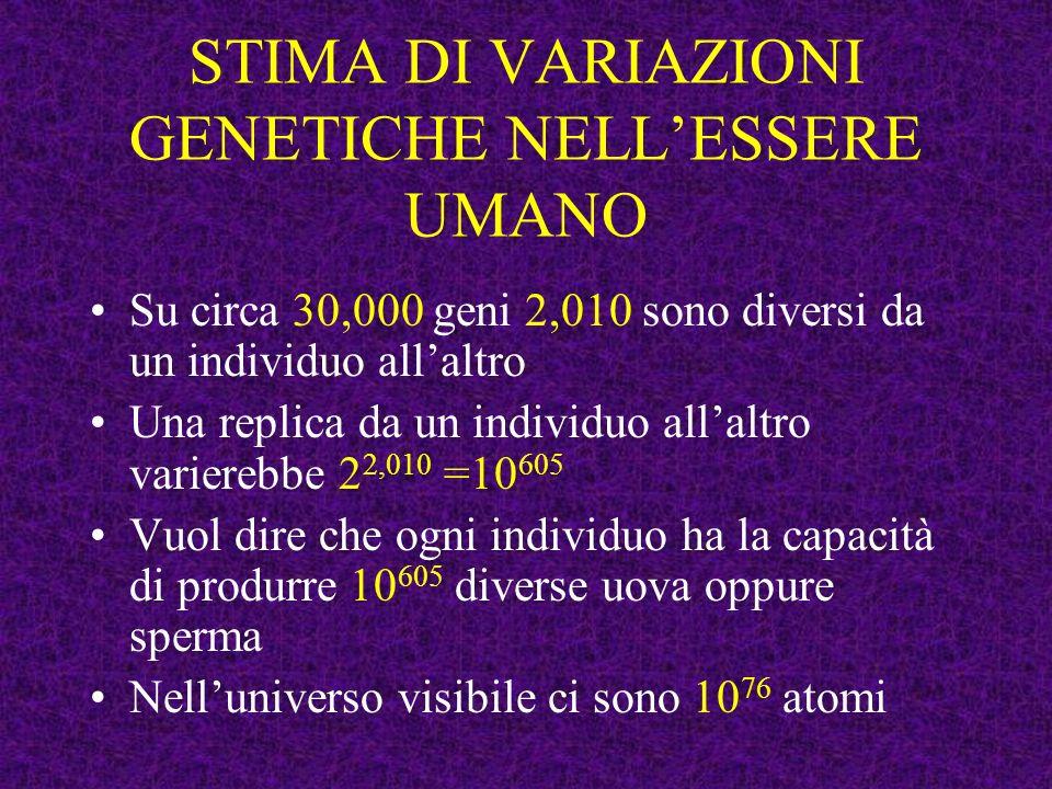 STIMA DI VARIAZIONI GENETICHE NELLESSERE UMANO Su circa 30,000 geni 2,010 sono diversi da un individuo allaltro Una replica da un individuo allaltro v